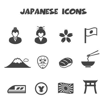 japanese icons, mono vector symbols