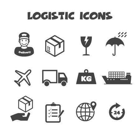 Logistik-Icons, Mono-Vektor-Symbole