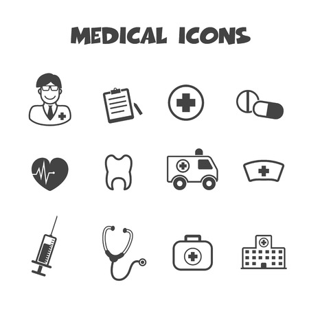 medical icons, mono vector symbols Vector
