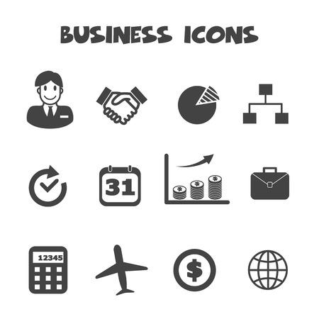 business icons, mono vector symbols Vector