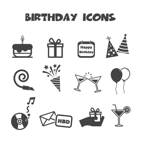 birthday icons, mono vector symbols