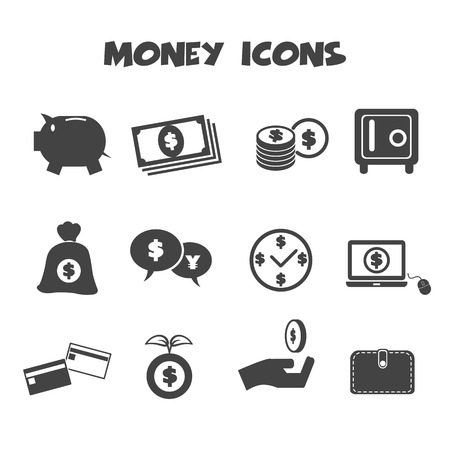 money icons, mono vector symbols Vector