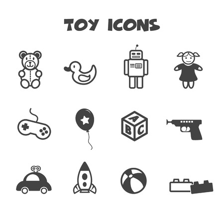 toy icons, mono vector symbols