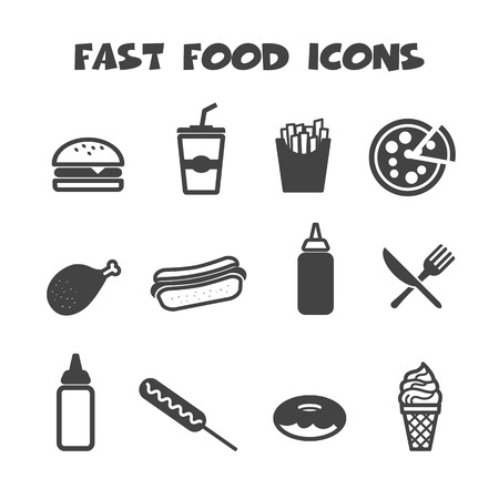 żywności: fast food ikony, symbole mono wektorowe Ilustracja