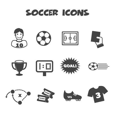 soccer icons, mono vector symbols Vector