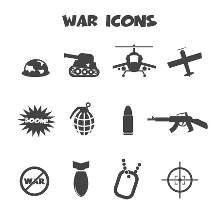 war icons, mono vector symbols Illustration