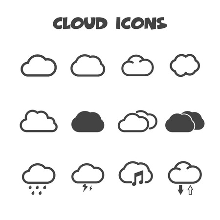 cloud icons, mono vector symbols Vector