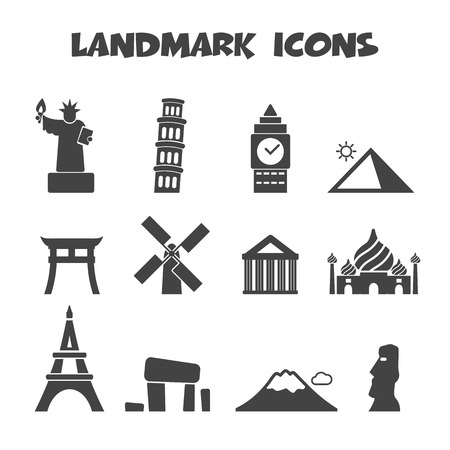 landmark icons, mono vector symbols Vector