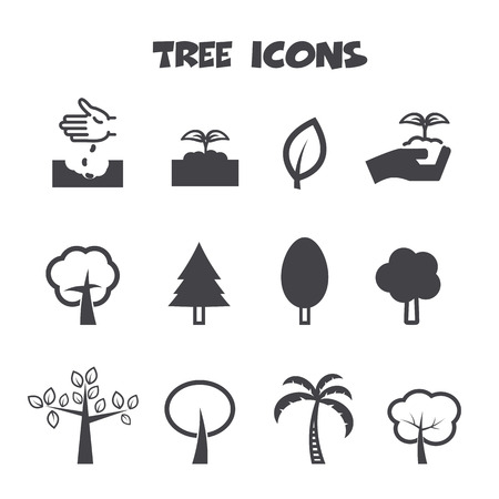 tree icons, mono vector symbols Vector