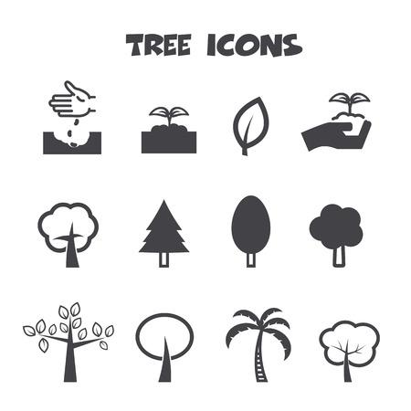 tree icons, mono vector symbols Vector