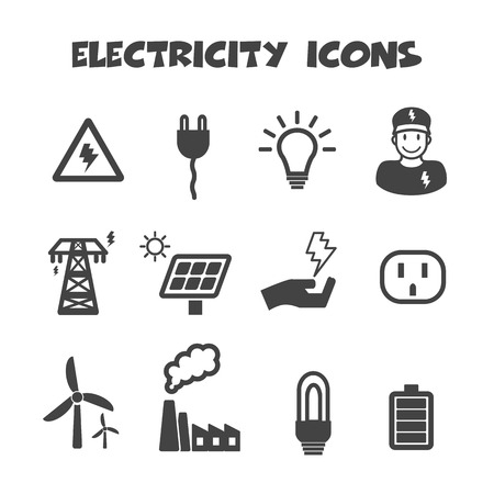 save electricity: electricity icons, mono vector symbols
