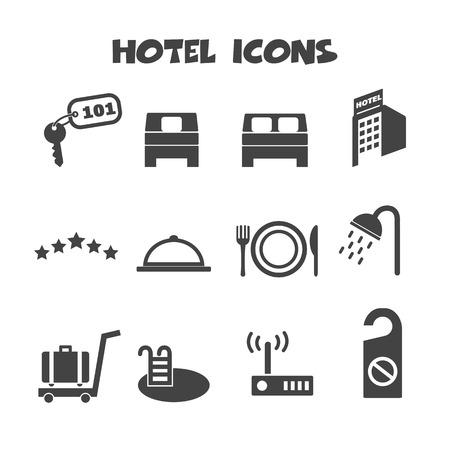hotel icons, mono vector symbols Vector