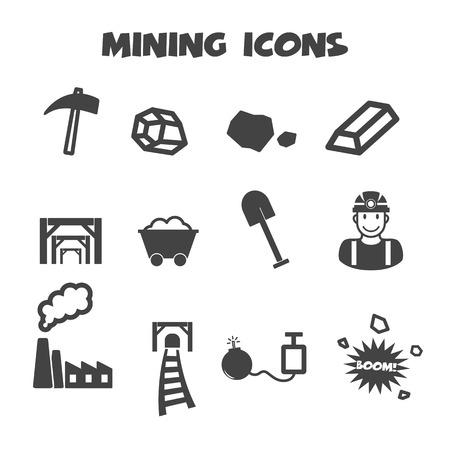 kopalni: górniczych, ikon wektorowych symboli mono Ilustracja