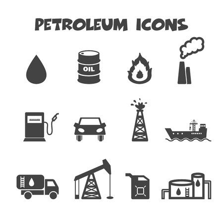 aardolie pictogrammen, mono vectorsymbolen