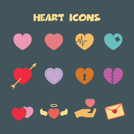 heart icons, colorful vector symbols Vector