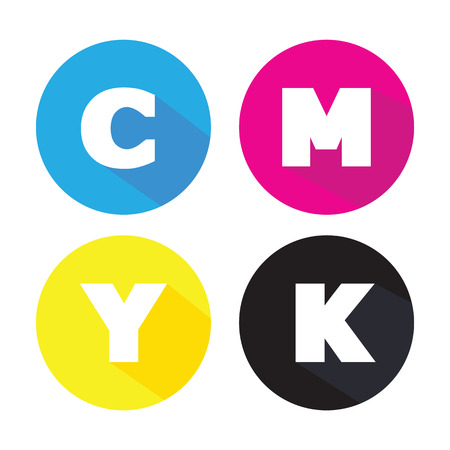 cmyk concept, colors mode printing isolated on white