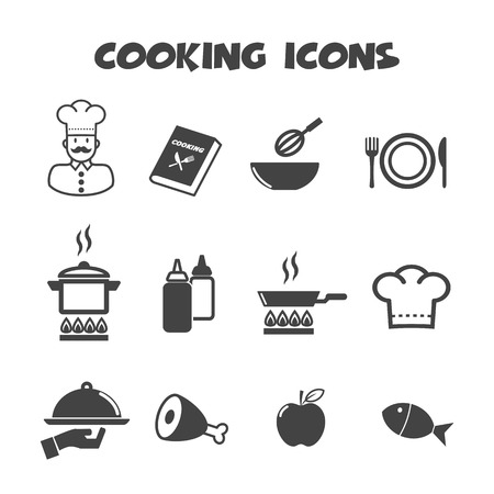 cooking icons, mono vector symbols