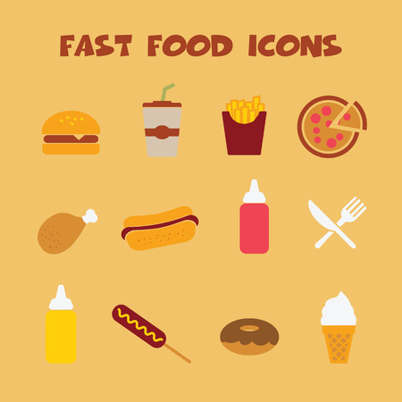 fast food icons, colorful vector symbols Stock Vector - 26050368