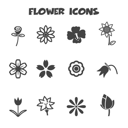 flower icons, mono vector symbols  Vector