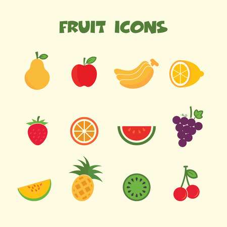 fruit icons, colorful vector symbols Illustration