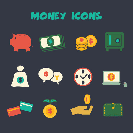money icons, colorful vector symbols  Vector