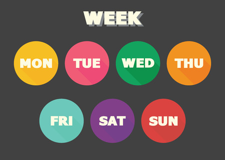 weekly planner: week concept, colorful vector symbols