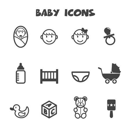 baby icons, mono vector symbols Vector