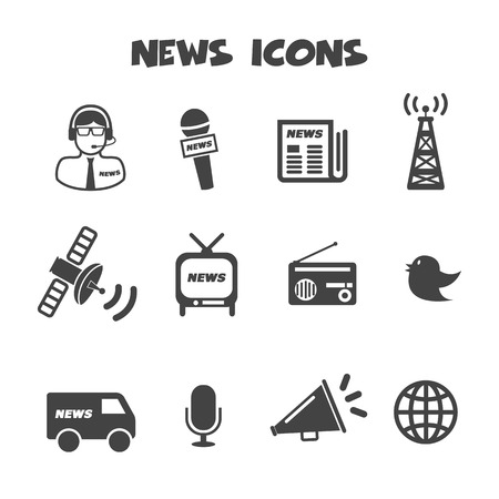 news van: news icons, mono vector symbols Illustration