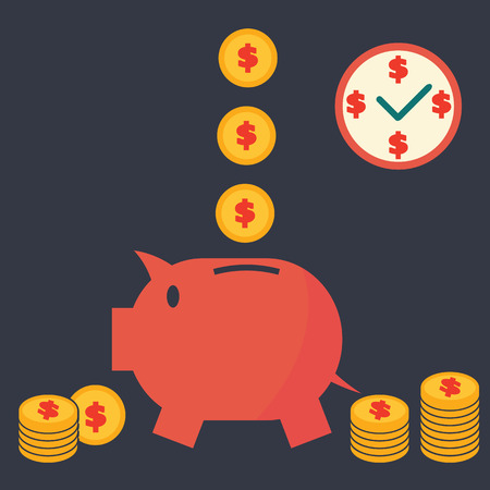 piggy bank saving money concept, vector symbols Vector