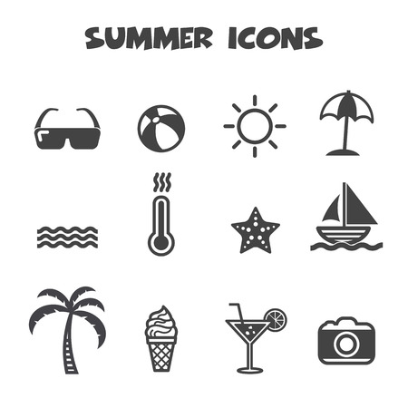 beach umbrella: summer icons, mono vector symbols Illustration
