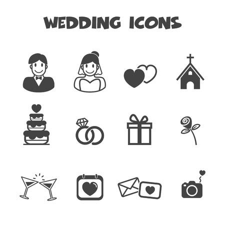 svatební ikony, mono vektorové symboly Ilustrace