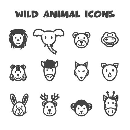 wild animal icons, mono vector symbols Vector