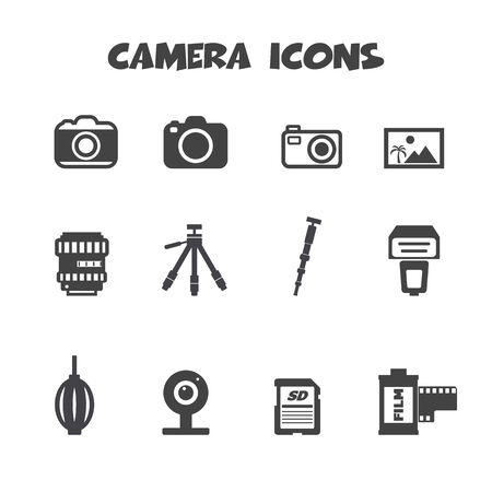camera and accessories icons, mono vector symbols Vector