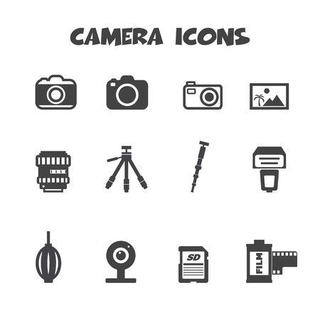 dslr: camera and accessories icons, mono vector symbols