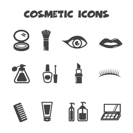make up face: cosmetic icons, mono vector symbols