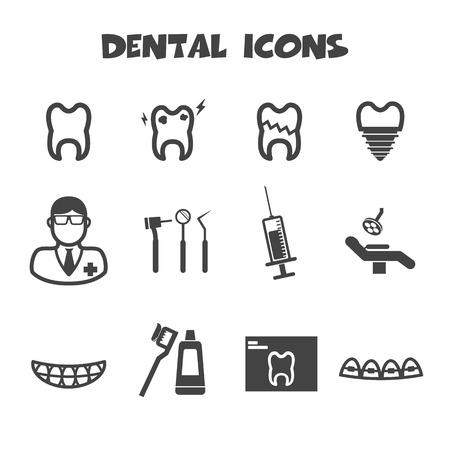 sillon dental: iconos dentales, s�mbolos mono vector Vectores