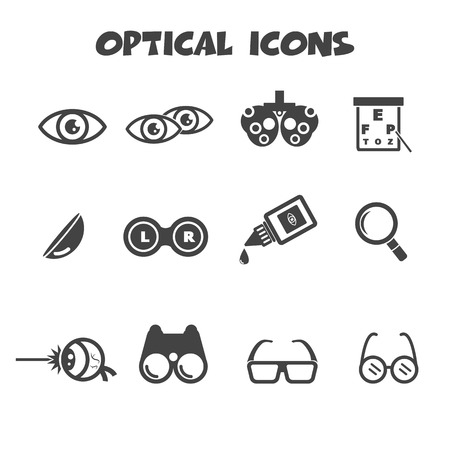 eye exam: optical icons, mono vector symbols Illustration