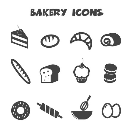 bakery icons symbols Vector