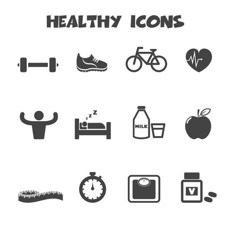 weight loss: healthy icons symbols