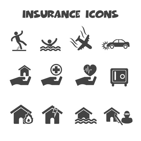 Insurance icons symbols Stock Vector - 26618702