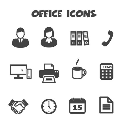 office icons symbols Vector
