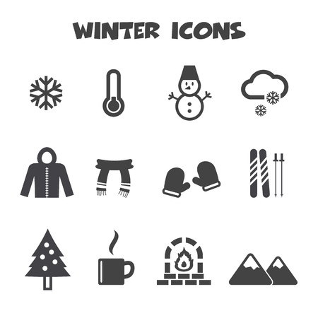 winter icons symbols Vector