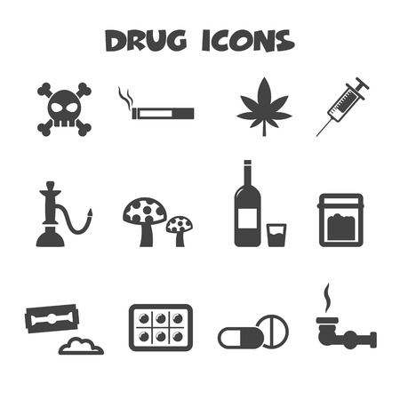 substance abuse: drug icons symbols