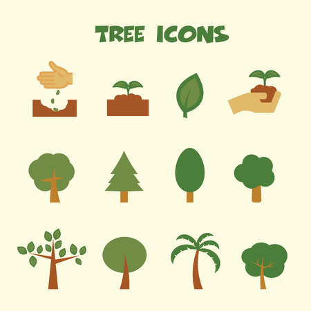 compost: tree icons symbols Illustration