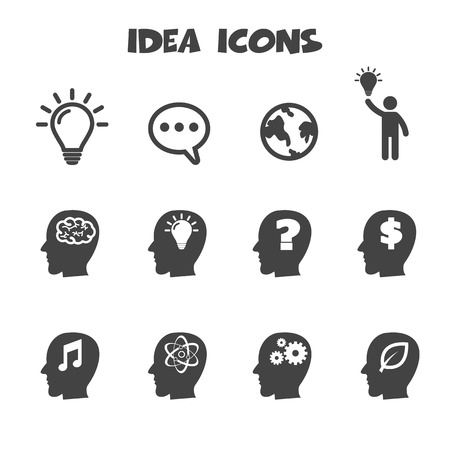 thinking: idea icons symbols Illustration