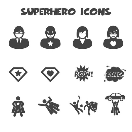 Superhero icons, mono symbols Vector