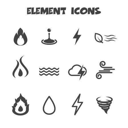 cuatro elementos: elemento iconos símbolos
