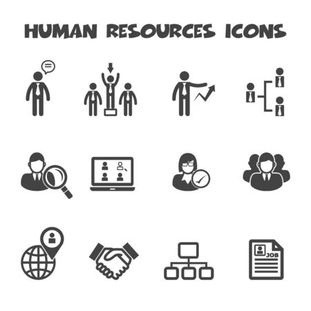 human right: human resources icon symbols