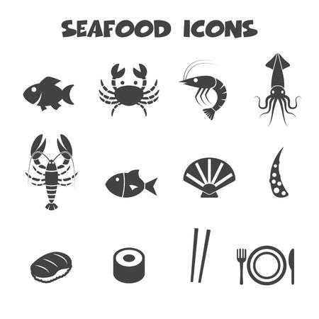 icônes de fruits de mer symboles Vecteurs