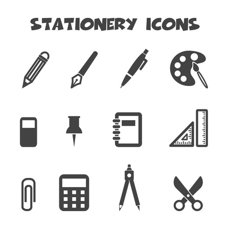 stationery icons symbols Vector